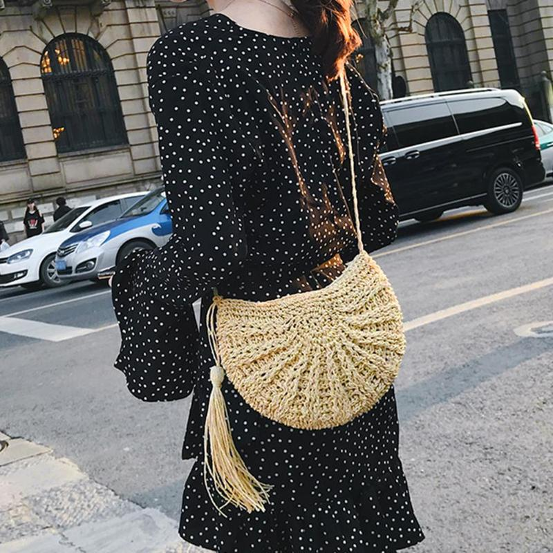 Handbags Women Straw Crochet Fringed Beach-Messenger Bohemian New-Fashion Tassel