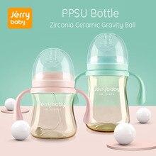 Jerrybaby Baby Feeding Bottle Newborn Wide Mouth Silicone Cover Straw Drinking Milk Infant Nursing W/ Handle