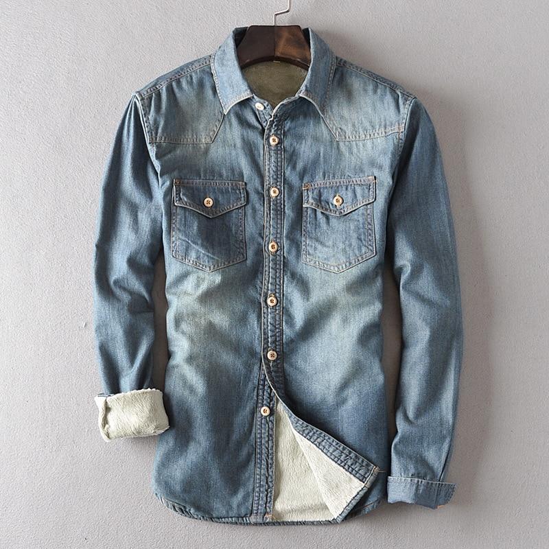 Autumn Winter New Slim Warm Camisas Hombre Vestir Thick Vintage Velet Lining Winter Denim Shirts Men
