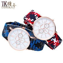 Hot Roman numerals men and women weaving watches High quality nylon strap Student Clockwise  Fashion Lovers Quartz-Watch gift