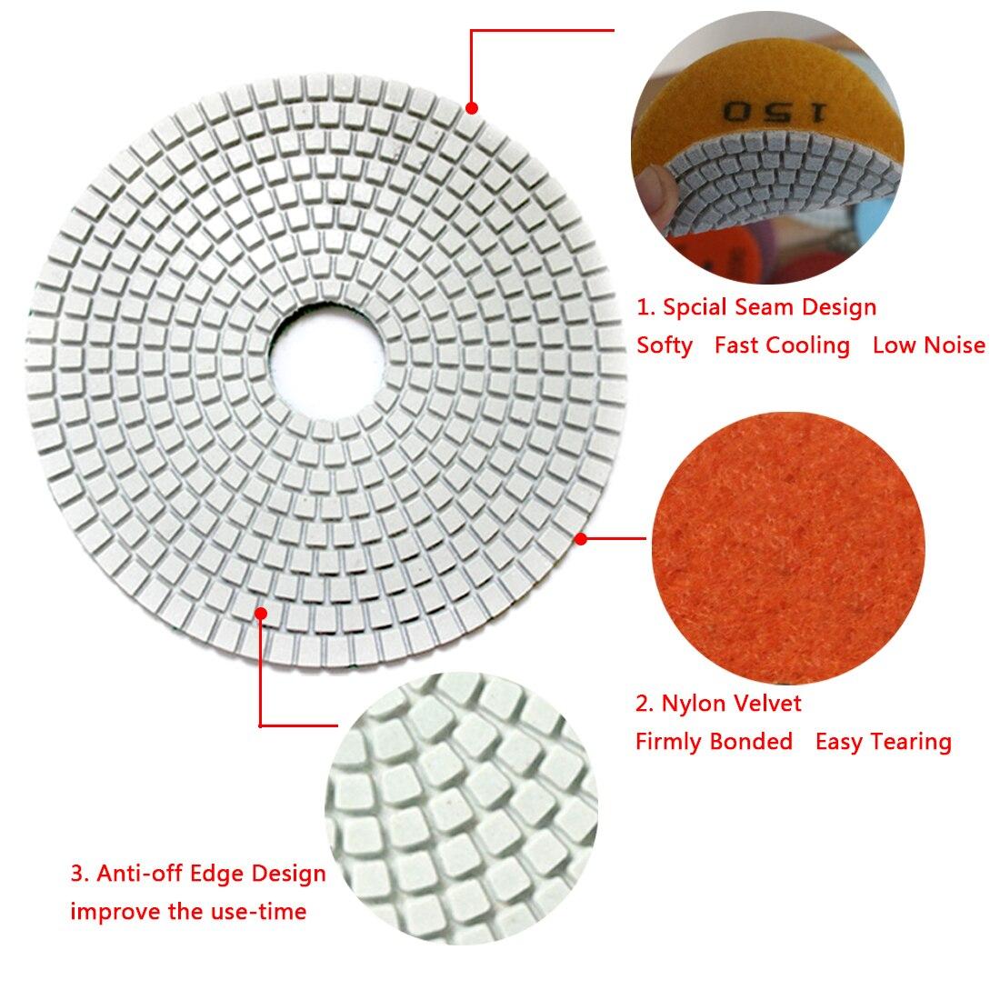 3Inch 10pcs Diamond Flexible Wet Polishing Disc for Marble Stone Ceramic Granite