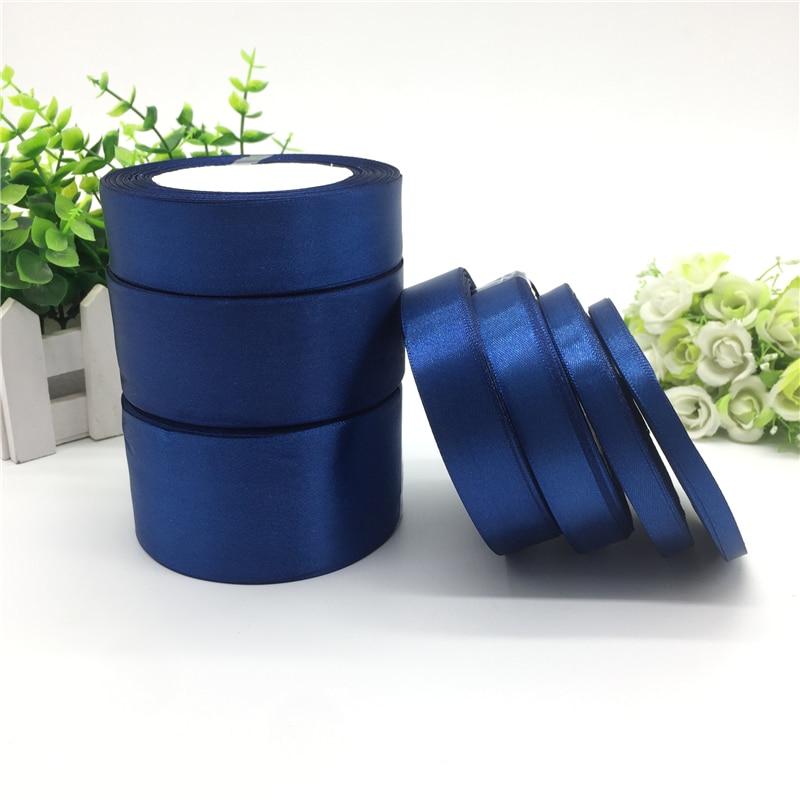 25 ярдов 6 10 15 20 25 38 50 мм темно-синяя шелковая атласная лента для украшения свадебной вечеринки, приглашения, упаковочные материалы для подарк...
