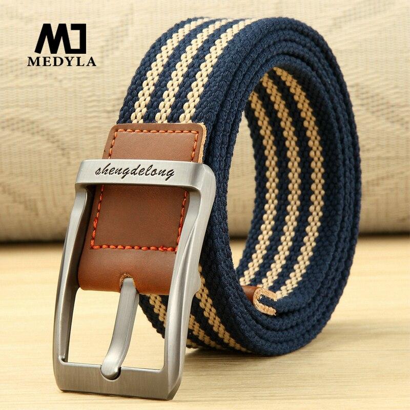MEDYLA Fashion Striped Men's Belt High-quality Encrypted Canvas Hard Metal Steel Buckle Belt For Men Leather Closure Sports Belt