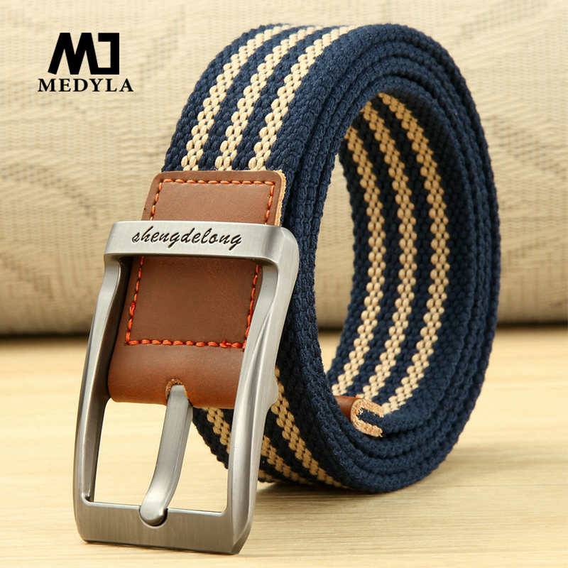 MEDYLA new canvas   belt   fashion striped solid metal pin buckle unisex fishing   belt   sports   belt   soft tough men's accessories