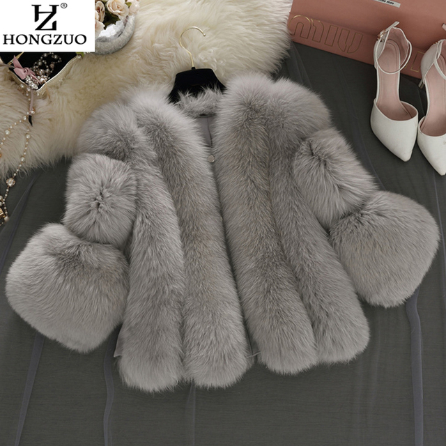 [HONGZUO] Brand Short Fur Coat Winter Fashion Women Faux Fox Fur Coats Furry Woman Fake Fur Jacket Plus Size Fur Coat PC237