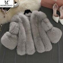 Women Winter Thick Gray Fur Coat Fashion Faux Fox Fur Coats Furry Female Three Quarter-sleeve Artificial Pink Fur Jacket PC237