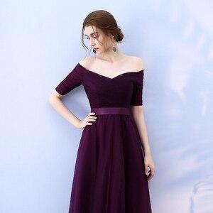 Image 5 - Beauty Emily Long Burgundy Cheap Bridesmaid Dresses 2020 A Line Off the Shoulder Half Sleeve Vestido da dama de honra