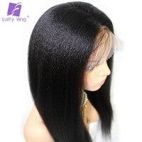 Луффи свет яки прямо бразильский Full Lace парики человеческих волос с для волос предварительно сорвал волосяного покрова отбеленные узлы не В