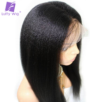 Luffy Light Yaki Straight Brazilian Full Lace Wigs Human Hair With Baby Hair Pre Plucked Hairline Bleached Knots Non Remy Hair