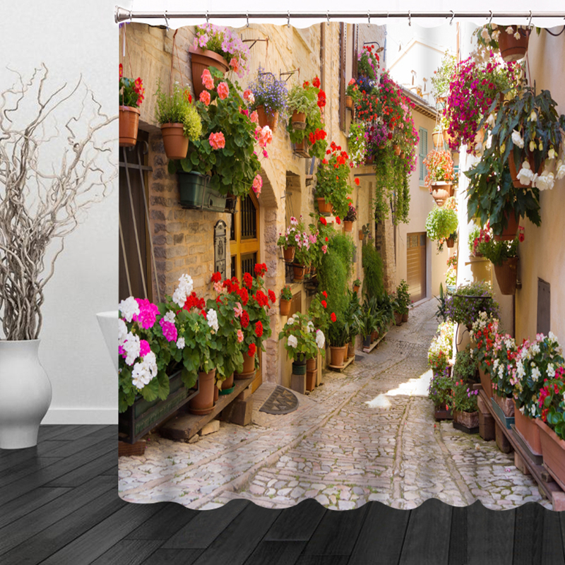3D Colorful Street Alley Pattern Shower Curtains Bathroom Curtain Waterproof Thickened Bath Curtain Customizable