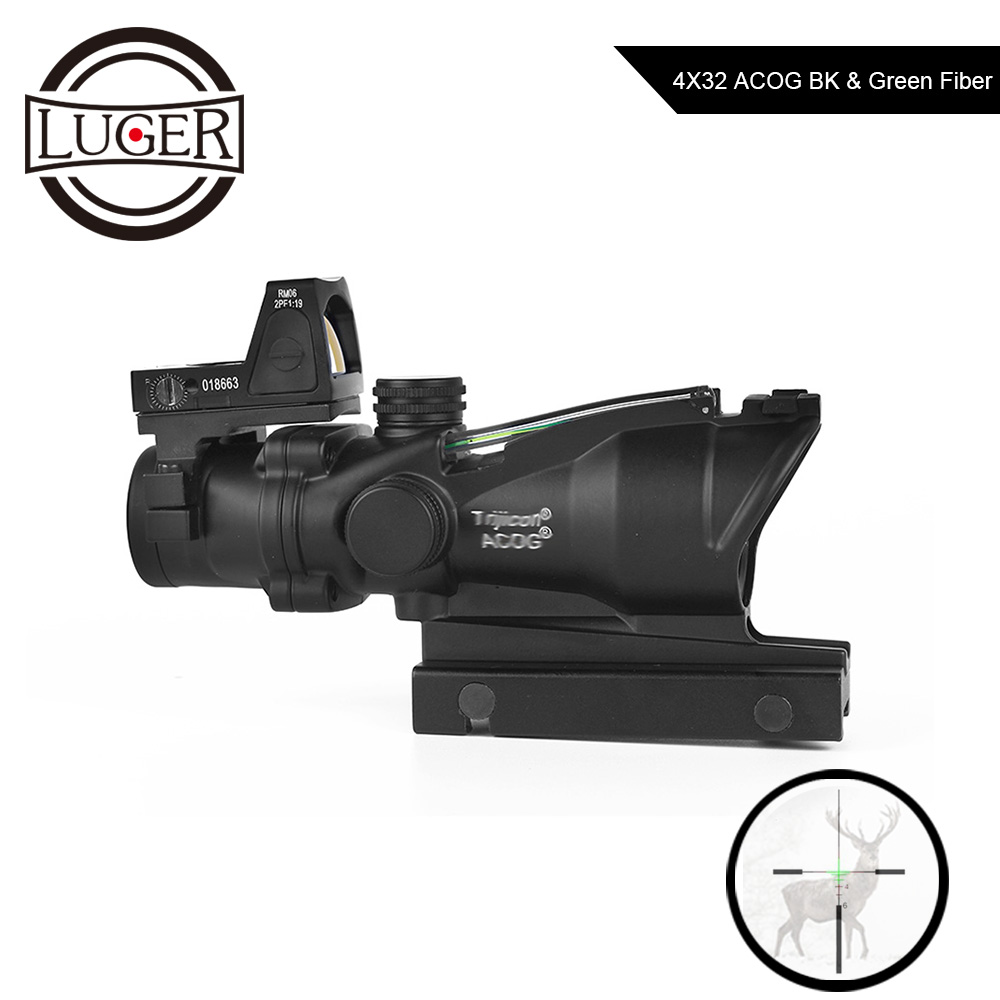 LUGER ACOG 4X32 Tactical Fibra Ottica Sight Compac RMR Red Dot Sight Portata del Fucile di Caccia Scope Combo Airsoft collimatore SightLUGER ACOG 4X32 Tactical Fibra Ottica Sight Compac RMR Red Dot Sight Portata del Fucile di Caccia Scope Combo Airsoft collimatore Sight