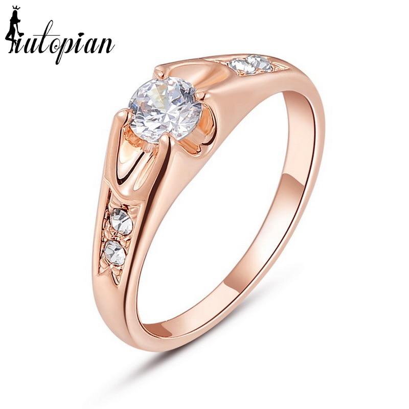 Verlobungsringe Iutopian Marke Österreichischen Hochzeit Ringe Für Frauen Rose Farbe Mit Österreichischen Kristall Stellux # Rg94064