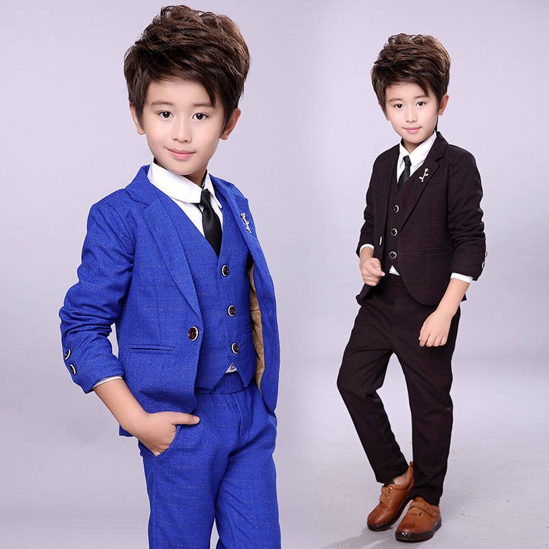 2018 new autumn childrens suit boys British wind performance costume dress boys vest small suit three-piece suit2018 new autumn childrens suit boys British wind performance costume dress boys vest small suit three-piece suit