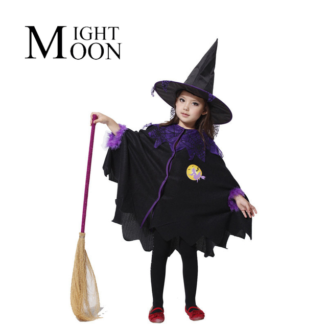 69774c9455155 MOONIGHT Halloween Children Cosplay Costume Black Flying Female Wizard Dress  Witch Suit The Elves Whimsy