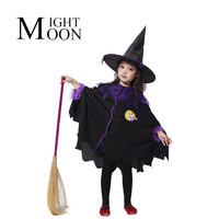Free Shipping Halloween Children Cosplay Costume Black Flying Female Wizard Dress Witch Suit The Elves Whimsy