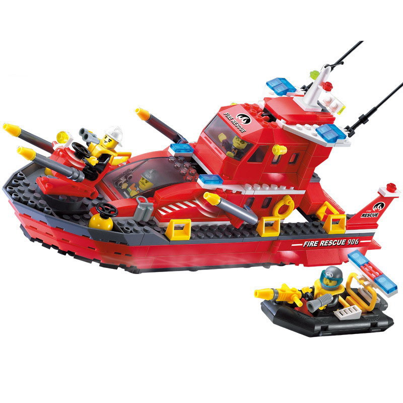 906 ENLIGHTEN 339Pcs Fire Fighting Police Bridge Fire Boat Model Building Blocks DIy Figure Toys For Children Compatible Legoe 1916 enlighten city water police station series plan breakout model building blocks figure toys for children compatible legoe