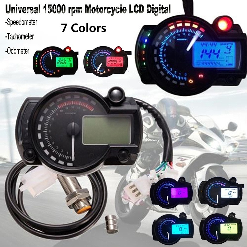 Acouto Universal Colorful Motorcycle Speedometer Odometer Tachometer Digital LCD With Speed Sensor Colorful