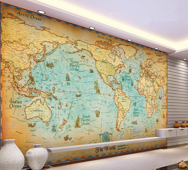 Custom retro wallpaper, the navigation world map murals for the living room bedroom TV background wall waterproof wallpaper the physical world wall map material laminated