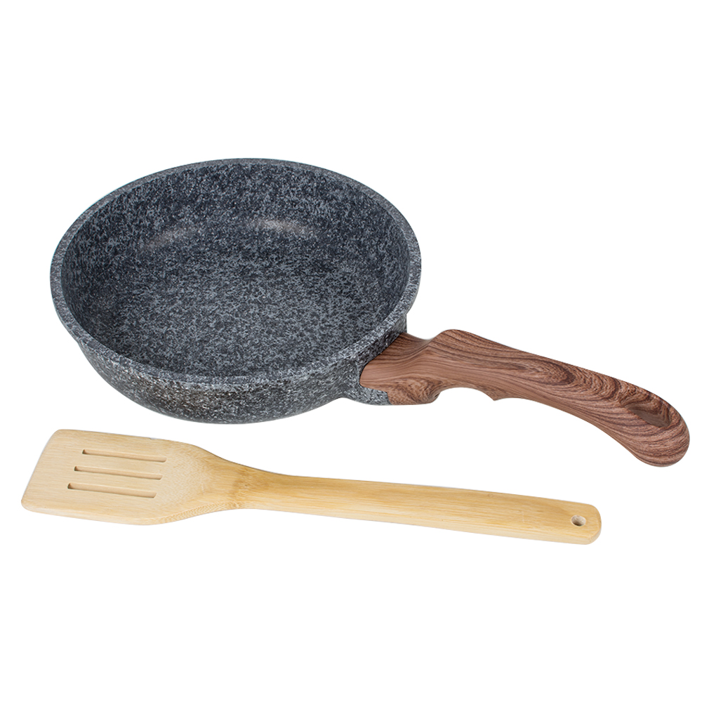 20cm Rice Stone Frying Pan ,Non-stick, No Fried , Egg Pancakes Pan with Wooden Shovel