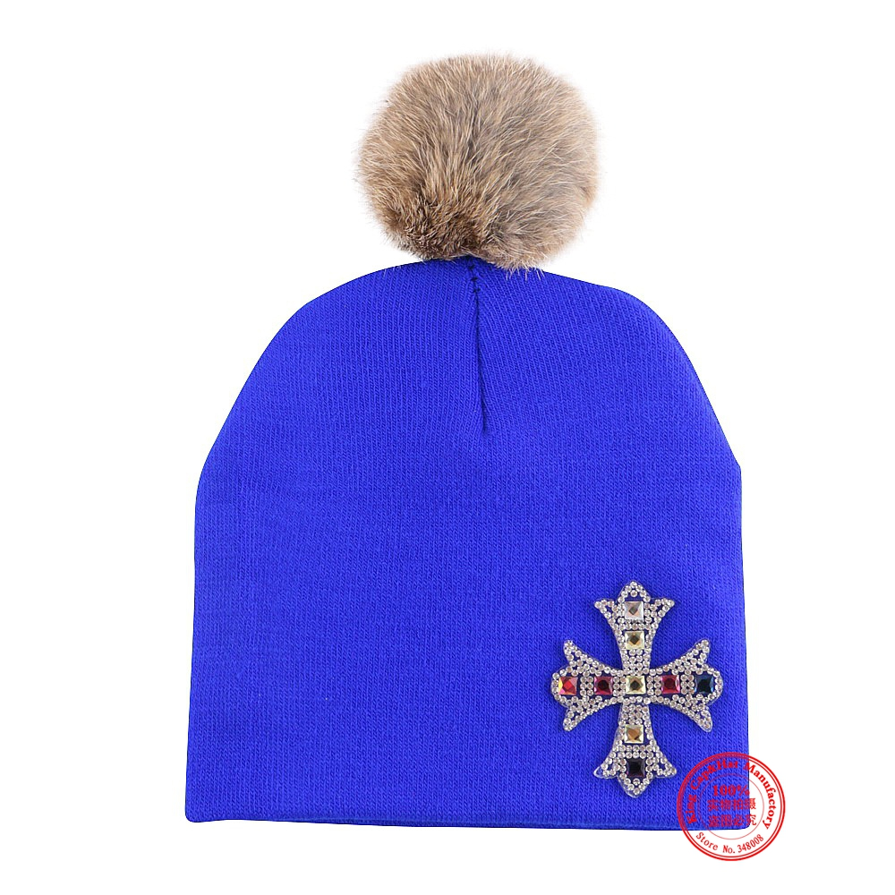 0 to 2 year girl boy beauty winter hat cap knitted thermal real animal fur pompom baby beanies colorful children gorro skullies