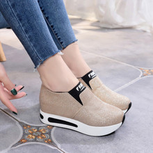 2019 New High Heel Lady Casual Shoes Woman Sneakers Leisure Platform Shoes Breathable Height Increasing Women Shoes Bling