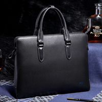 BVP Mens Real Genuine Leather Cowhide Business 14 Inch Laptop Case Briefcase Portfolio Tote Attache Black
