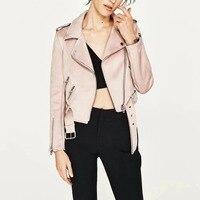 New Autumn Witner Women Motorcycle Faux PU Leather Pink Blue Beige Jackets Lady Biker Outerwear Coat