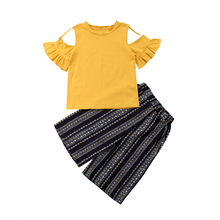 Kids Baby Girl Clothing Off shoulder Tops T-Shirts Long Pants Casual Cotton Cute 2Pcs Clothes Outfits Girls 1-6T