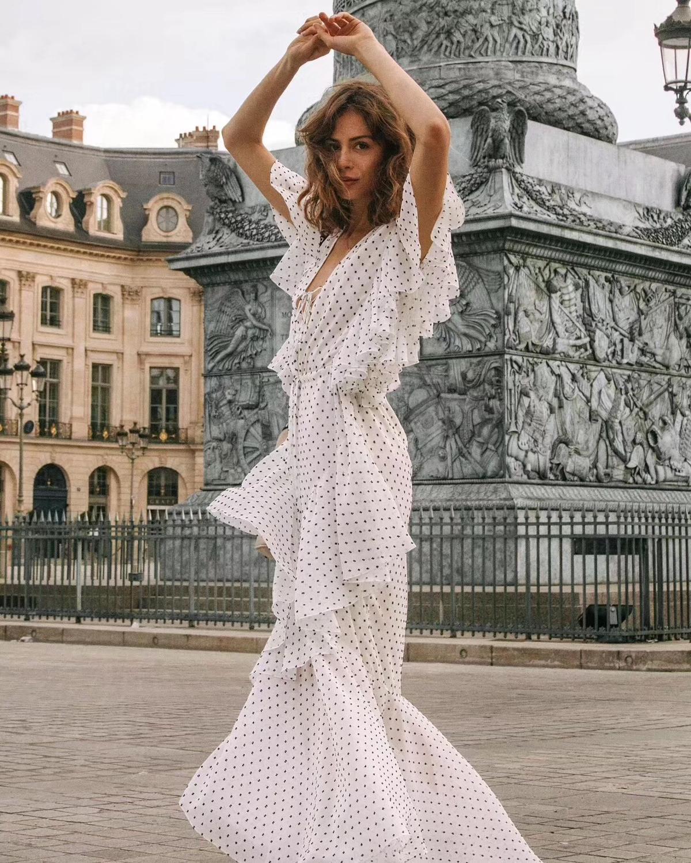 Volants À cou Courtes As Blanc Dot Manches Show Femmes Robe V Irrégulière Picture xgXqE4w6Y