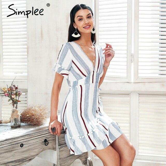 Simplee v-образным вырезом в полоску с оборками летнее платье женские Обёрточная бумага Стиль Хлопок Короткое платье 2018 уличная повседневные платья женские Vestidos
