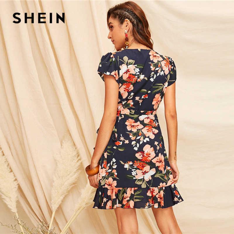 SHEIN Boho Многоцветный цветочный принт с оборками на подоле, самозавязывающееся летнее платье, женское платье с высокой талией, приталенное и расклешенное элегантное платье трапециевидной формы