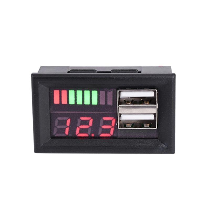 LED rouge affichage numérique voltmètre mini voltmètre testeur de tension panneau pour DC 12V voiture moto véhicule USB 5V2A sortie