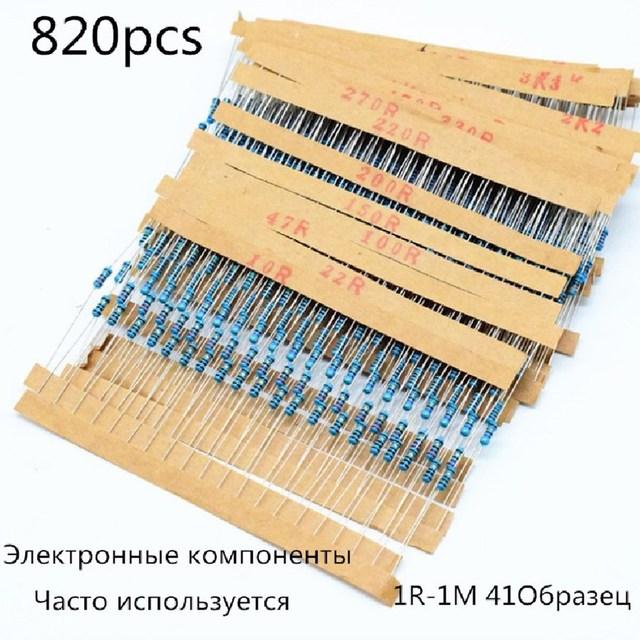 820 pçs/lote 41 valores * 20 pçs 1% 1/4w resistor pacote conjunto diy metal resistor kit use a resistência colorida do anel (10 ohms ~ 1 m ohm)