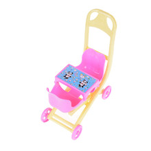 1PCS plastic Infant Carriage Stroller Trolley Nursery Toys Furniture Doll Gifts for Baby Girls Baby Stroller Doll Accessory(China)