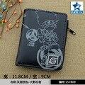 Gray-black Anime Naruto Shippuden PU Wallet/ Hatake Kakashi Sharingan Short Purse with Zipper