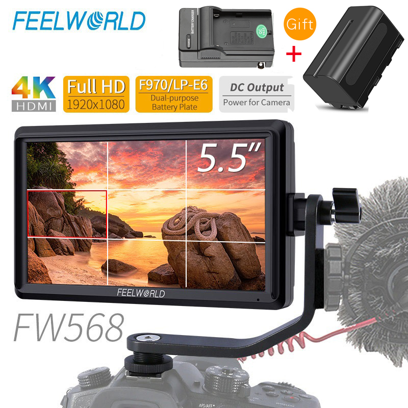 FEELWORLD FW568 5.5 inch  4K HDMI On Camera Field DSLR Monitor Small Full HD 1920x1080 IPS Video Focus + NP750 Battery + Charger-in Monitor from Consumer Electronics    1