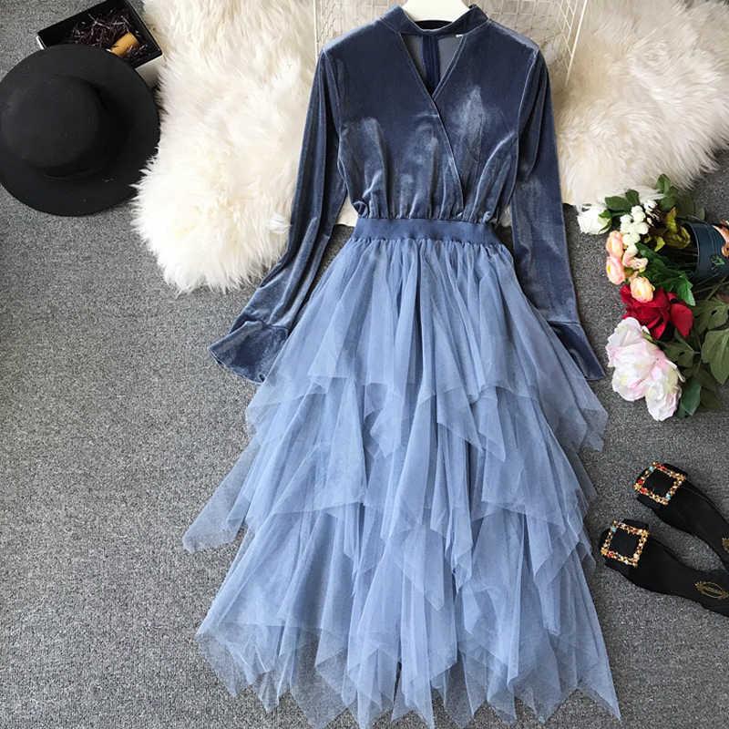 Dresses Woman Party Night Velvet Dress Long Sleeve Winter Dress Robe Sexy  Mesh Patchwork Vestidos 2018 f8451f582adf