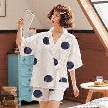 2020 neue Nachtwäsche Damen Sommer Reine Baumwolle Kurzarm 2 stücke Dünne Sommer Pyjamas Set Pyjama Sets Frauen