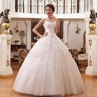 Wedding dress slim waist sweet lace bow tube top wedding dress ruffle wedding dress with handmade flowers beaded jacket