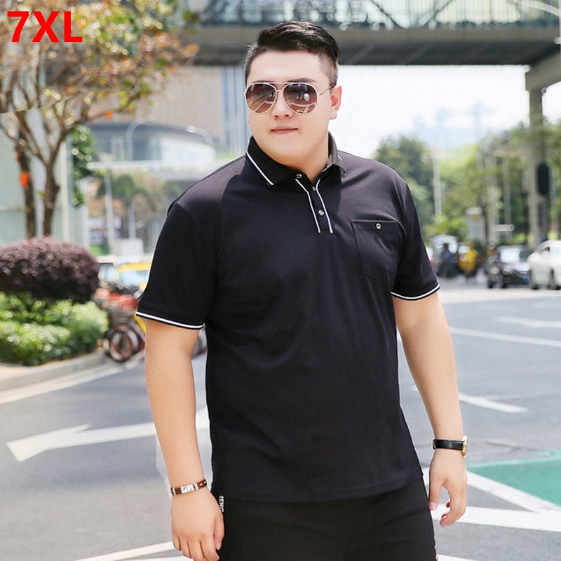 2019 summer loose large   polo   shirt men's solid color lapel short-sleeved shirt cotton 7XL