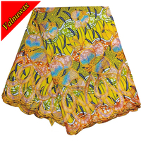 Miss L ,New design Colorful African Wax Hollandais with Embroidery Fabrics Nigerian Ankara Print Lace Fabric 6Yards /QD1203#