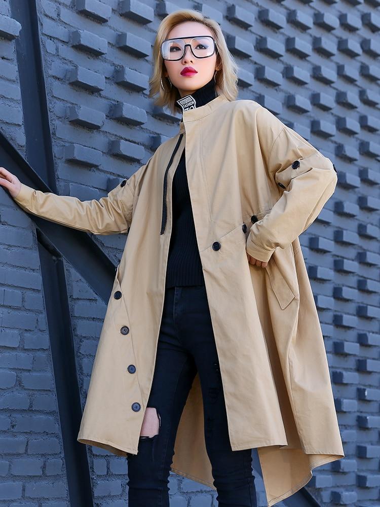 Le Europe Trench Cotone Cappotto khaki Primavera 2019 Giacca Superaen Per A  In Irregolare Fashion Casual Femminile Vento Black Donne Selvaggio E Autunno  ... 7832dabbd3a