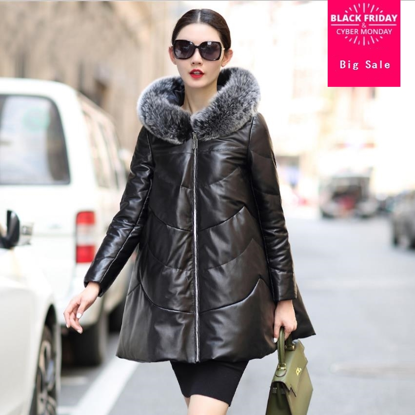 Winter sheep leather fabric big natural fur duck   down     coat   female fox fur hooded thicker long warm leather   down     coats   wq518