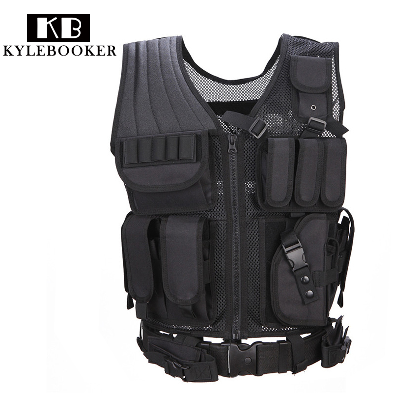 Adjustable Tactical Vest Military Airsoft Hunting Vest Training Paintball Airsoft Combat Protective Vest For CS War games goggles full face masks neck mesh protective outdoors cs war game airsoft paintball field sport equipment tactical masks