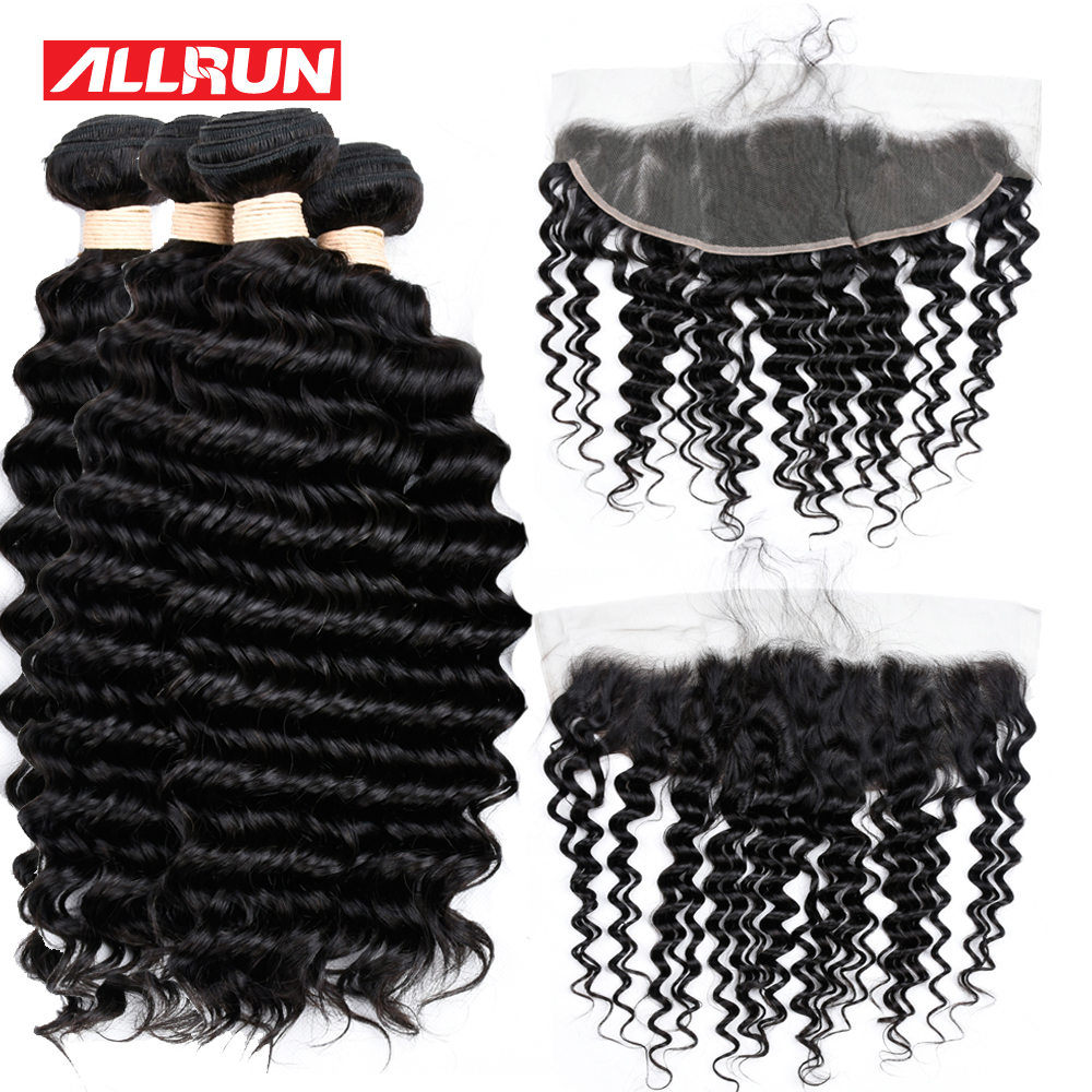 Allrun Deep Wave 4 Bundles With 13*4 Lace Frontal Human Hair Bundles Natural Color Hair Weave Non Remy Hair 5Pcs/lot