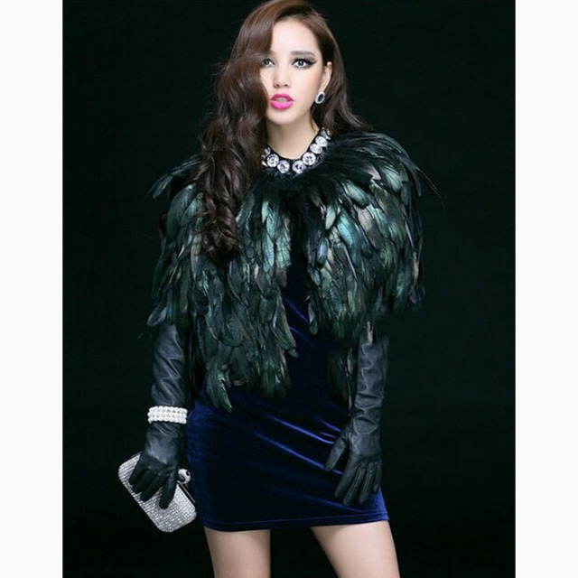 XITAO Autumn Faux Fur Vest for Women Short Paragraph Feather Coat Waistcoat Shawl High Grade Europe Feathers Hot Sale WPA-002