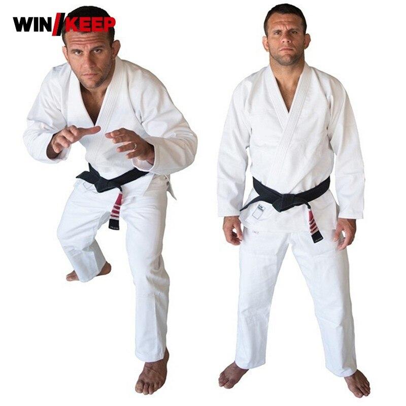 цены на Top Quality Brazil Brazilian Jiu Jitsu Judo Gi Bjj Gi Classic Black Blue White Present White Belt kung fu A1-A4 Kung Fu Clothing в интернет-магазинах