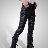 Faux Leather Trousers Black Long Pants For Men Casual Men Fashion Skinny Motorcycle Pants without Belt Asia/Tag Size M 3XL