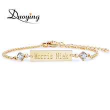 DUOYING Crystal Baby Bracelet Gold Color 25*6 mm Bar Personalized Custom Name Engraved Bracelet Graduation Gift Jewelry for Etsy(China)