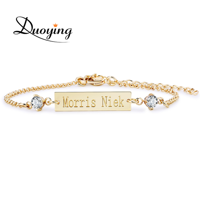 e091a57fa38b € 6.57 |DUOYING de bebé de cristal pulsera de Color oro 25*6mm Bar  personalizado nombre personalizado grabado pulsera de joyería de regalo  para ...